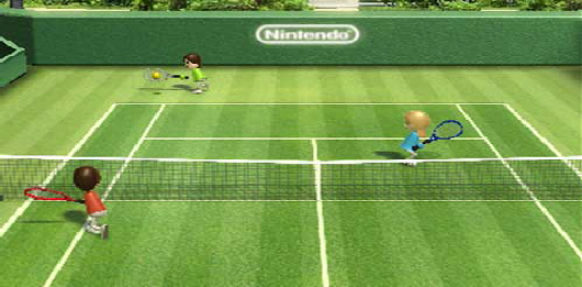Wii Tennis, one of many sports games available to hire for your event.
